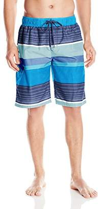 Kanu Surf Men's Quick Dry Striped Beach Board Short Swim Trunk