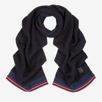 Bally Cable Knit Scarf Multicolor, Men's wool and cashmere blend scarf in multi-blue navy