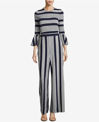 ECI Striped Bell-Sleeve Jumpsuit