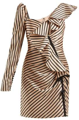 Self-Portrait Self Portrait Asymmetric Striped Satin Mini Dress - Womens - Black Gold