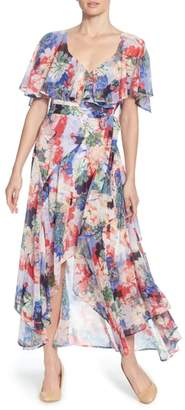 Catherine Malandrino Jos Floral Capelet Wrap Dress