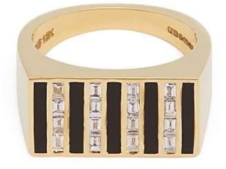 Jessica Biales - 18kt Gold & Diamond Block Signet Ring - Womens - Gold