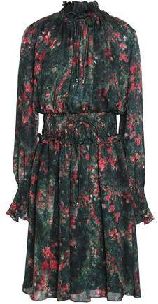 Mikael Aghal Shirred Floral-Print Silk-Chiffon Dress