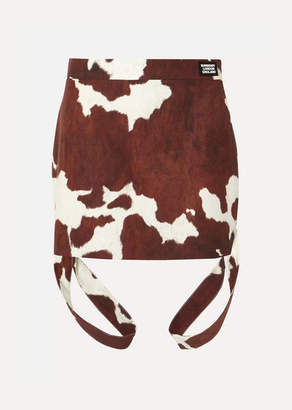 Burberry Printed Cotton And Linen-blend Mini Skirt
