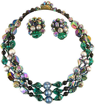 One Kings Lane Vintage 1950s Emerald Art Glass Necklace Suite - Neil Zevnik