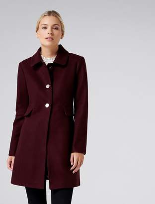 Forever New Ellie petite dolly coat - Berry - 4