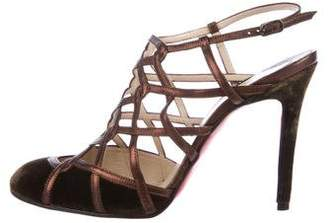Christian Louboutin Velvet Round-Toe Sandals