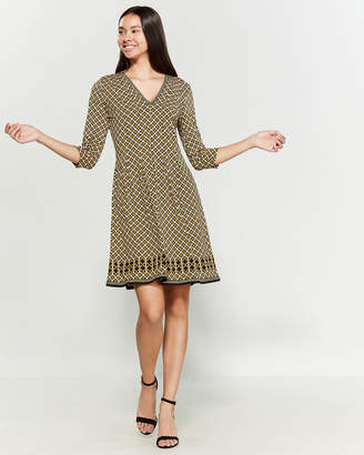 Max Studio Black & Gold Chain Print A-Line Dress