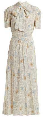 Miu Miu - Floral Print Crepe De Chine Dress - Womens - Light Blue