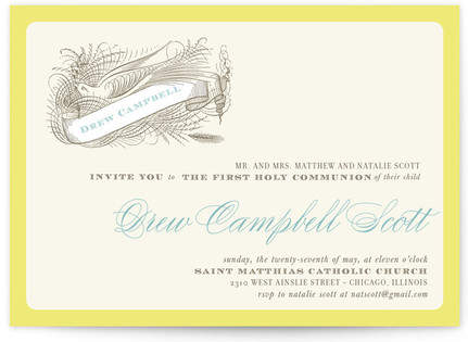 Buy float + birdie baptism First Holy Communion Invitations!