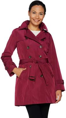Joan Rivers Classics Collection Joan Rivers Water Resistant Trench Coat w/ Removable Hood