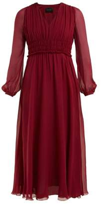 Giambattista Valli Gathered Silk Chiffon Dress - Womens - Burgundy