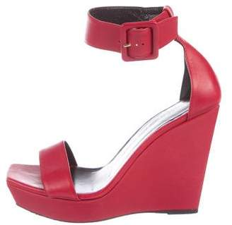 Saint Laurent Leather Wedge Sandals
