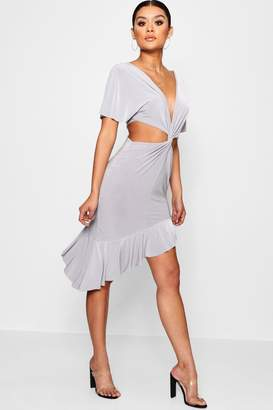 boohoo Slinky Cut Out Twist Ruffle Midi Dress