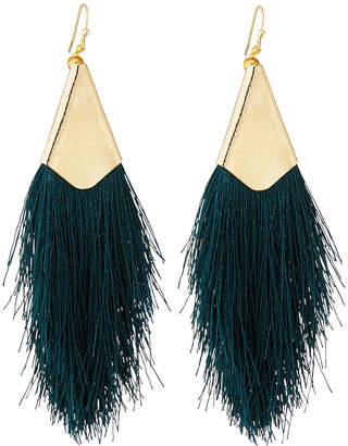 Nakamol Fringe Drop Earrings, Dark Green