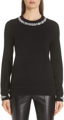 Michael Kors Embellished Cashmere & Cotton Blend Sweater