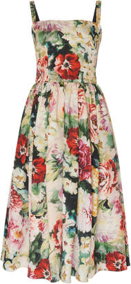 Dolce & Gabbana Pleated Floral Organza Midi Dress