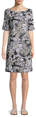 Karen Scott Elbow-Sleeve Jungle Shift Dress