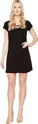 Michael Stars Women's Tee Dress with Crochet Trim