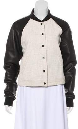 A.L.C. Linen-Blend Leather-Paneled Jacket
