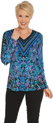 Bob Mackie Bob Mackie's Floral Print Pullover Knit Top
