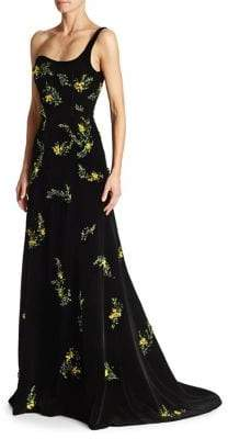 Oscar de la Renta One-Shoulder Velvet Gown