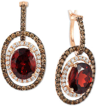 LeVian Le Vian Chocolatier Raspberry Rhodolite Garnet (6 ct. t.w.) and Diamond (1-1/3 ct. t.w.) Earrings in 14k Rose Gold, Created for Macy's