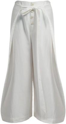 Gisy Sonnet Cream White Silk Wrap Palazzo Pants