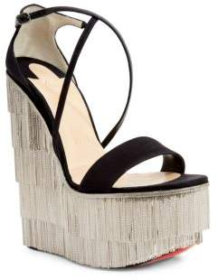 Christian Louboutin Foxtrottissima 160 Satin& Metallic Fringe Platform Wedge Sandals