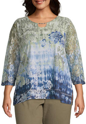 Alfred Dunner Lake Tahoe Ikat Floral Lace Top - Plus