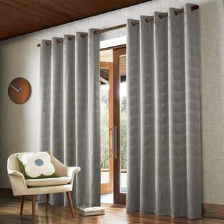 Orla Kiely Jacquard Stem Eyelet Curtains - Grey - 165x137cm