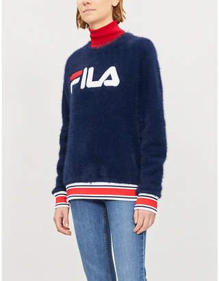 Fila Cash striped-trim felted jumper