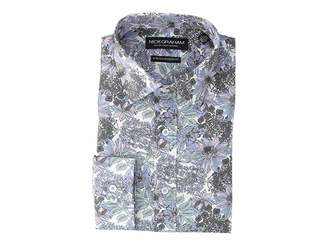 Nick Graham Large Floral Print Stretch Shirt Men's Long Sleeve Button Up