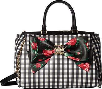 Betsey Johnson Gingham Bow Satchel Crossbody