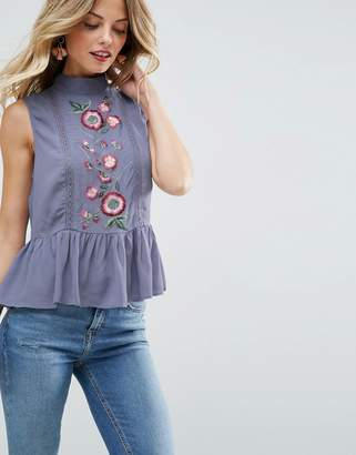 Asos DESIGN Sleeveless Blouse With Embroidery