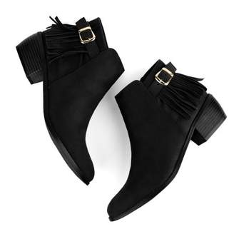 Unique Bargains Women Buckle Strap Tassel Low Chunky Heel Booties