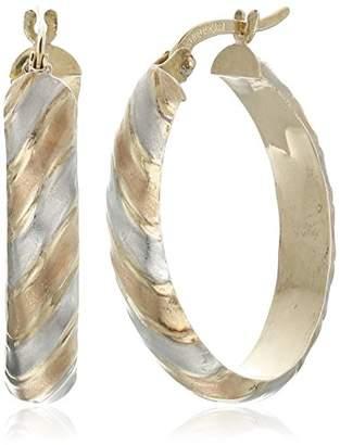 14k -Bonded Sterling Silver Tri-Color Oval Hoops