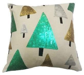 "Peking Handicraft Multicolored Trees Sequin Pillow - 16\""x16\"""