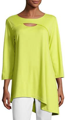 Joan Vass Yoke-Cutout Asymmetric Easy Tunic, Plus Size