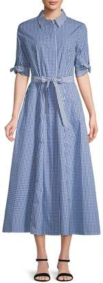 Calvin Klein Collection Checkered Cotton Shirtdress
