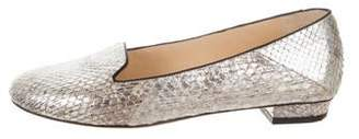 Alexandre Birman Snakeskin Metallic Loafers