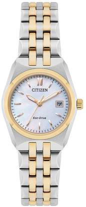 Citizen Eco-Drive Corso Mother Of Pearl Dial Two Tone Stainless Steel Bracelet Ladies Watch