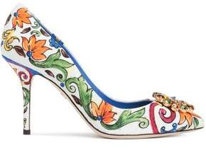 Dolce & Gabbana Embellished Printed Jacquard Pumps