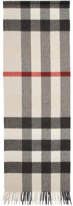 Burberry Beige Check The Cashmere Classic Scarf
