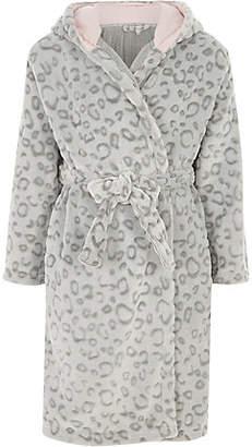 River Island Girls Grey leopard print dressing gown