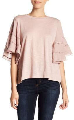 Susina Mixed Media Short Sleeve Blouse (Petite)