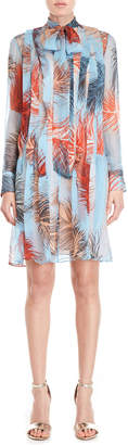 Emilio Pucci Printed Tie-Neck Pleated Sheer Dress