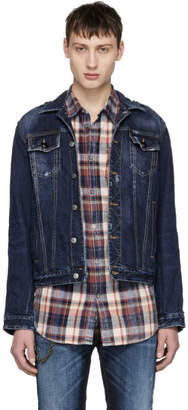 DSQUARED2 Navy Denim Ribbon Tape Sleeve Jacket