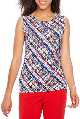 CHELSEA ROSE Chelsea Rose Sleeveless Jewel Neck Blouse