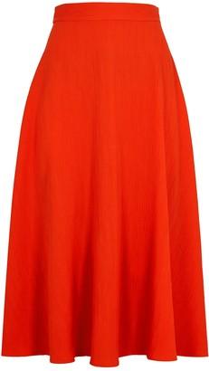 Paule Ka Coral Plisse Midi Skirt